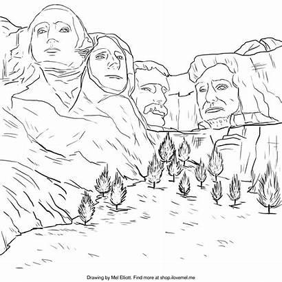 Rushmore Mount Coloring Drawing Mel