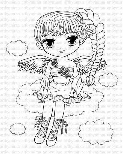 Coloring Pretty Pages Angel Digi Stamp Eyed