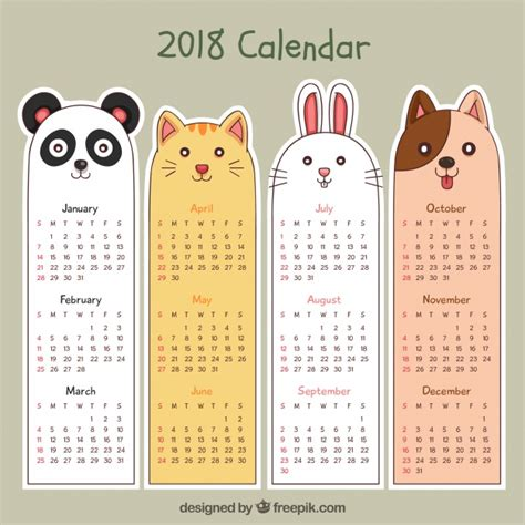 Calendar Month Template Hand by Hand Drawn 2018 Calendar Vector Free Download