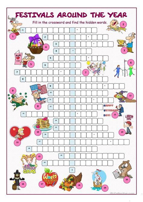 festivals   year crossword puzzle worksheet