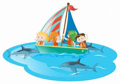 Boat Swimming Sharks Watching Vector Clipart Graphics