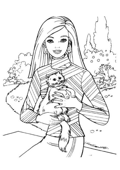 dibujos  colorear de barbie  su gato ausmalbilder