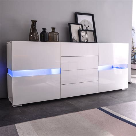 Cupboard White by Led Sideboard Buffet Cabinet Chest Of Drawers Storage