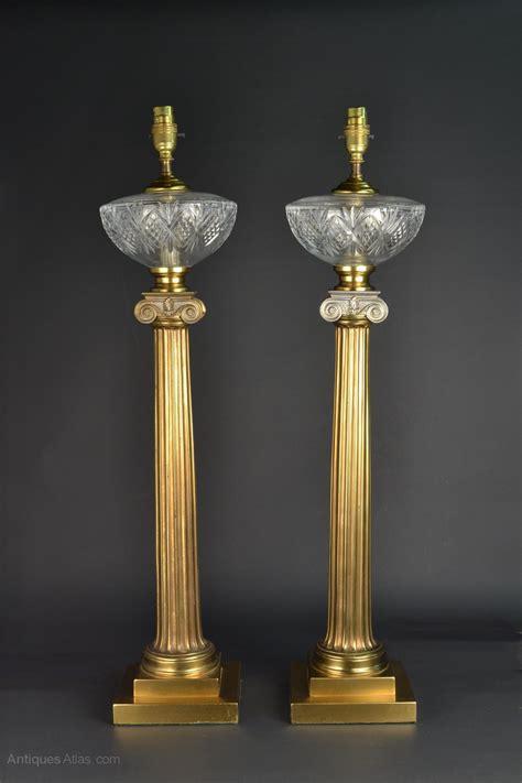 antiques atlas greek column glass  brass table lamps