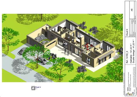 maison 4 chambres plain pied cuisine plan d maison plain pied contemporaine mâ suite