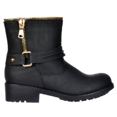 biker ankle boots shoekandi biker ankle boot bzip feature gold zip and
