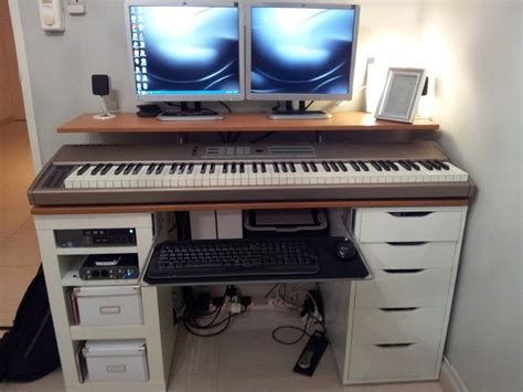 recording studio computer desk ikea hackers integrated computer music work desk love