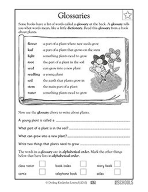index glossary table of contents worksheet 4th grade 1st