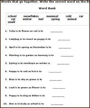 Free Printable Spring English Worksheets For Young Children To Connect The Source Subject To The