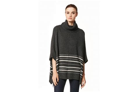 360 Sweater Ornelia Poncho In Charcoal And Latte At Sue Parkinson
