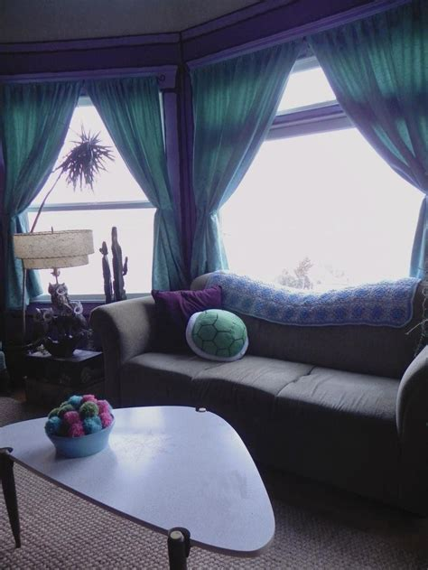 grey couch purple accents teal curtains   home