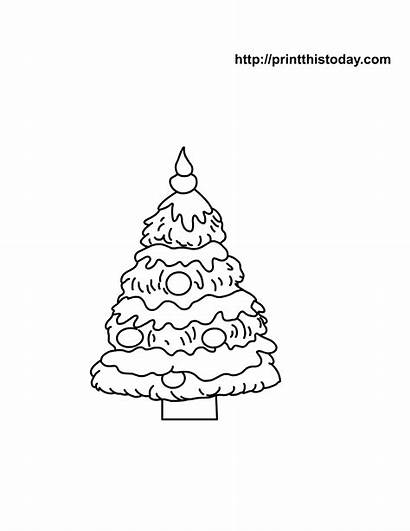 Coloring Christmas Tree Printable Pages Ornaments Printables