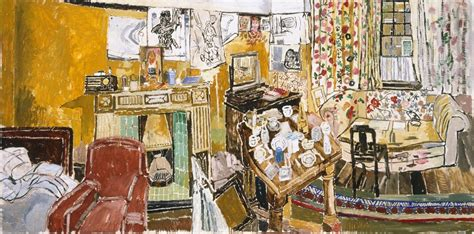 bratby kitchen sink interior with fireplace and window at greenwich 1957 by 4904