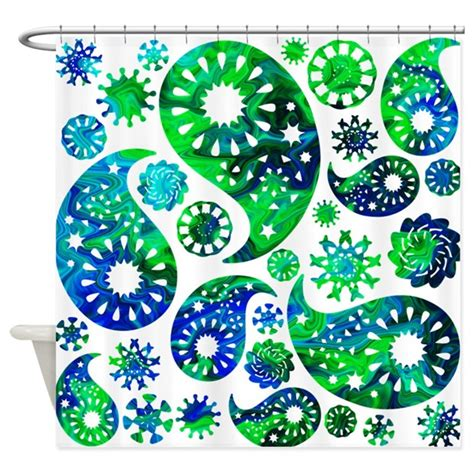 green and blue paisley shower curtain by metarla3