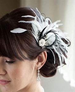 Wedding Hair Accessory Bridal Feather Fascinator Black And