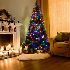 Costway, 7ft, Pre-lit, Pvc, Christmas, Tree, Hinged, Multicolor, Led, Lights, -, Walmart, Com