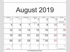 Printable Calendar 2017 2018 2019 PrintableCalendar4UCom