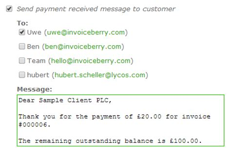 payment received messages      customers
