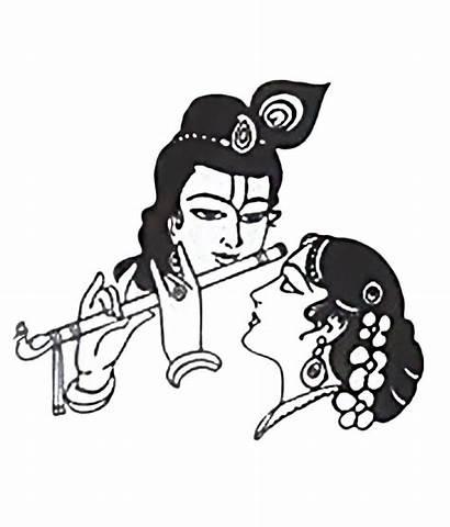 Krishna Radha Clipart Drawing Line Wall Stickers