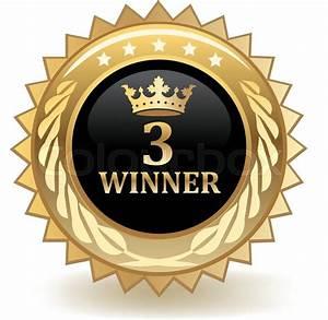 Third place winner gold award badge. | Stock Vector ...