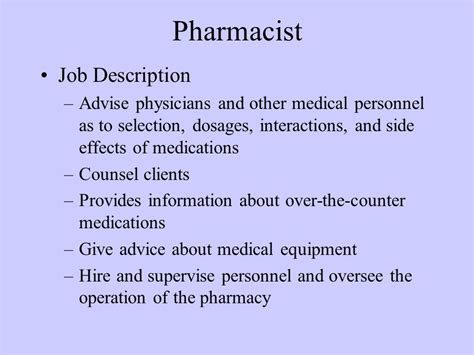 Pharmacist Description by Introduction To Pharmacology Ppt