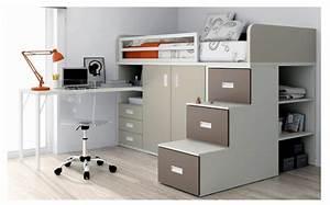 Lit Mezzanine Double : lit avec bureau lit double escamotable vasp ~ Premium-room.com Idées de Décoration