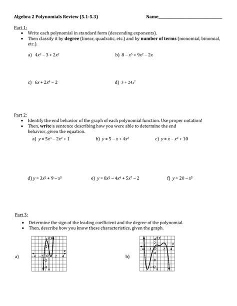 Algebra 2 Polynomials Review (5.1