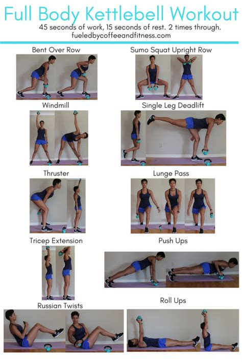 kettlebell workout body step fitness instructions row leg into