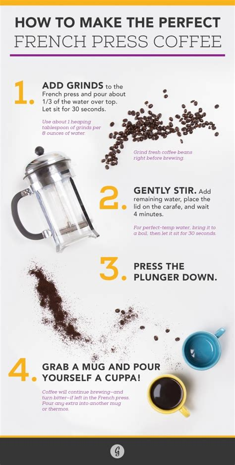 The measurements you need to check when using a french press are steeping time, size of grind, the ratio of coffee to water. How to Make the Perfect French Press Coffee | Greatist