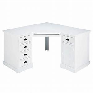 Bureau d'angle 1 porte 5 tiroirs en sapin blanc Newport Maisons du Monde