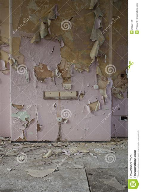 peeling wallpaper stock photo image  ancient hallway