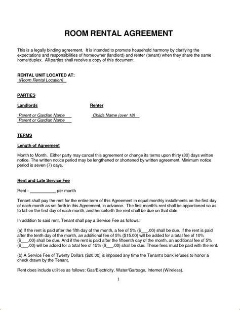 room rental agreement template teknoswitch