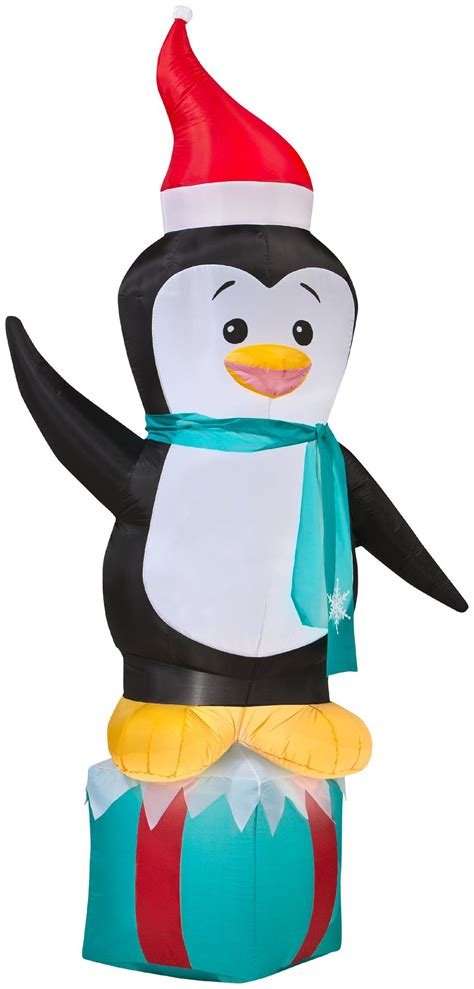 airblown inflatables christmas penguin  gift box