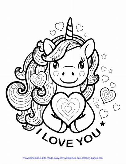 Coloring Valentines Easy Adults Unicorn Printable Hearts