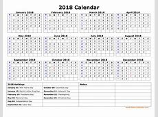 Free Download Printable Calendar 2018 with US Federal