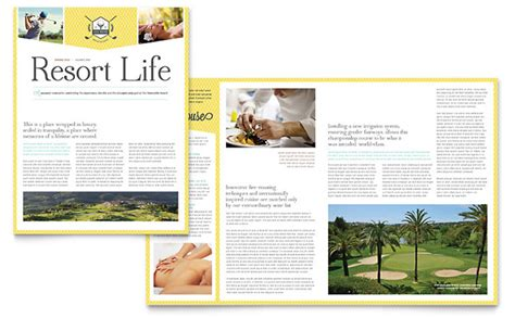 golf resort newsletter template word publisher