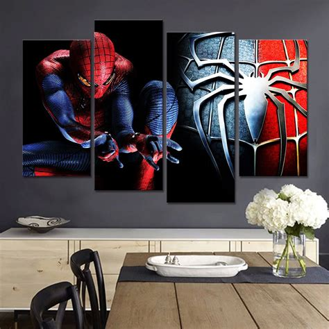 Shop a wide variety of kids wall decor today. No Framed Free Shipping Spiderman Wall Decor Living Room Pictures Cartoon Canvas Art Painting 4 ...