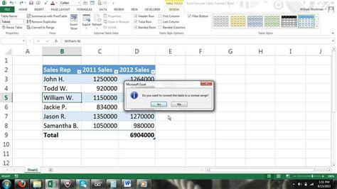 excel for noobs part 40 how to convert a table to a normal range of cells excel 2013 excel 2016