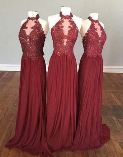 halter high neck burgundy bridesmaid dresseschiffon