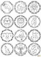 Zodiac Coloring Pages Signs Chinese Tribal Curvy Printable Drawing Print Supercoloring Astrology Sign Sheets Colouring Colorings Animals Animal Printables 09kb sketch template