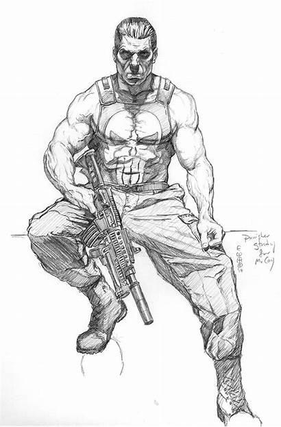 Punisher Deviantart Sketch Meador Marvel Pencil Drawing