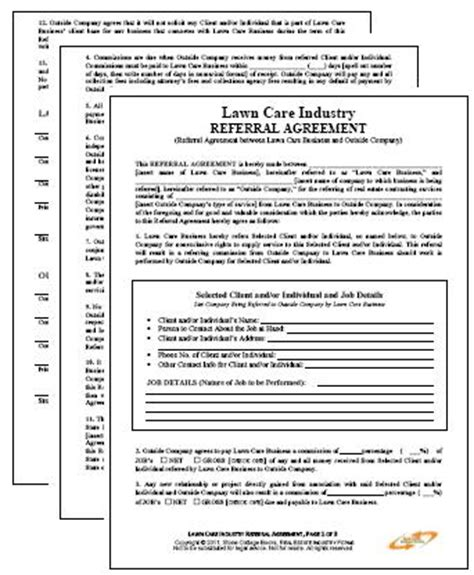 lawn maintenance business referral agreement