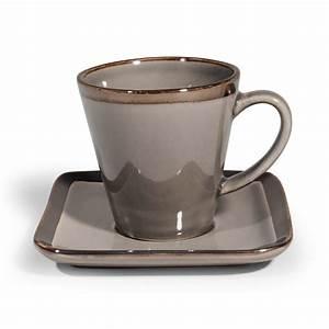 tasse a cafe et soucoupe en gres grise allure maisons du With tasse maison du monde