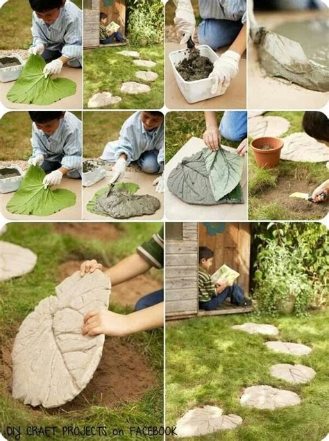 diy path diy patio leave shaped concrete stepping stones