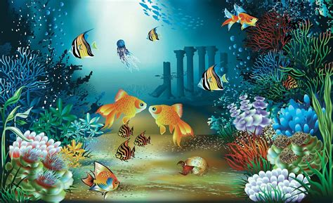 fishes corals sea wall paper mural buy at europosters