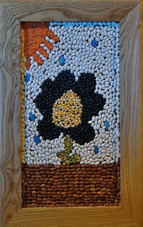 bean  seed mosaic crafts ideas  beans