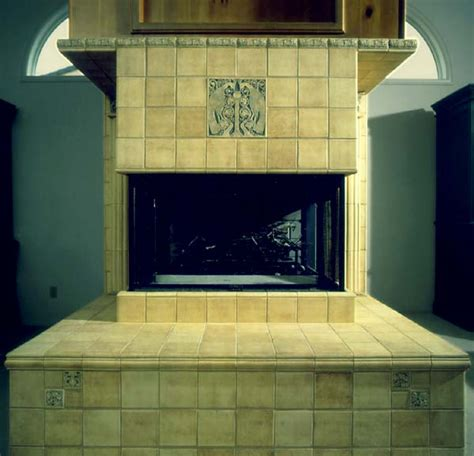 Batchelder Tile Fireplace Surround by Integrated Arts Craftsman Fireplace Design