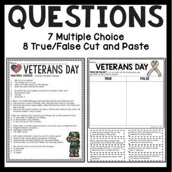 veterans day reading comprehension worksheet  teaching
