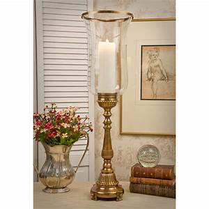 dessau home bc428 antique brass footed hurricane With kitchen cabinets lowes with antiques candle holders