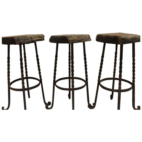 wood and iron bar industrial iron and reclaimed wood bar height stools from